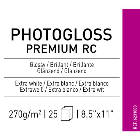 "8.5"" x 11"" Infinity PhotoGloss Premium RC - 270 gsm - 25 Sheets"