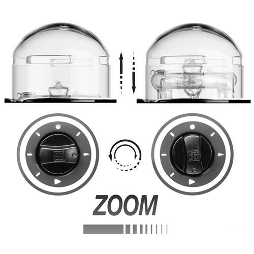 Zoom Action Flash Head with Clear Glass Dome